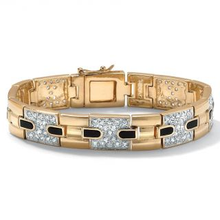 Ultimate CZ Mens Gold over Silver Cubic Zirconia and Onyx Bracelet