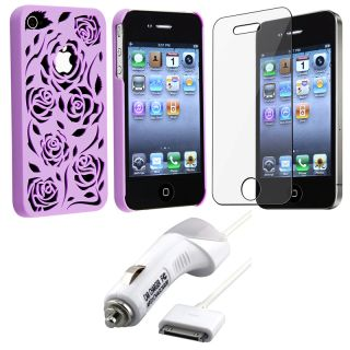 Purple Rose Case/ Screen Protector/ Car Charger for Apple iPhone 4S