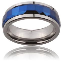 Tungsten Carbide Blue Multi faceted Square Cut Spinner Ring