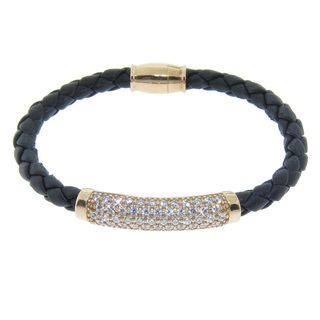 Eternally Haute Gold over Silver CZ Braided Leather Magnet Bracelet