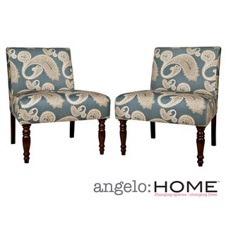 angeloHOME Bradstreet Feathered Paisley French Blue Upholstered