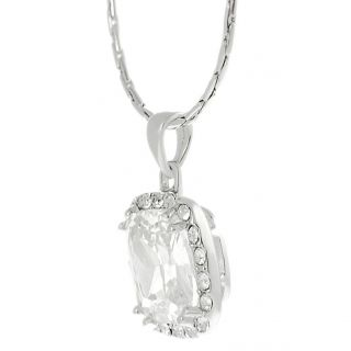 Journee Collection Silvertone Pave set Cushion cut CZ Necklace