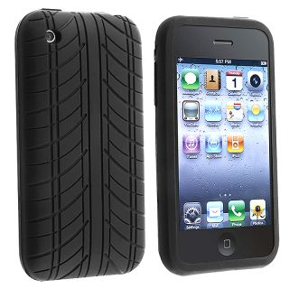 Black Tire Tread Silicone Skin Case for Apple iPhone 3G / 3GS
