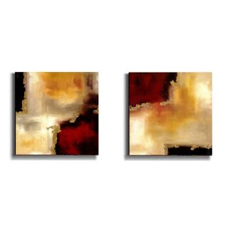 Maitland Crimson Accent I & II Stretched Canvas Art Set