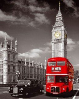 London   Big Ben, Roter Bus Und Taxi Mini Poster (50 x 40cm)