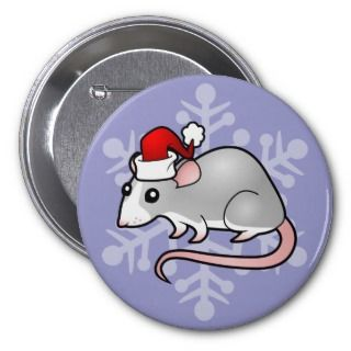 Christmas Rat (silver blaze) buttons by SugarVsSpice