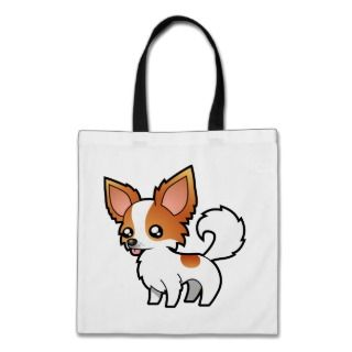 Cartoon Chihuahua (red parti long coat) bags by SugarVsSpice