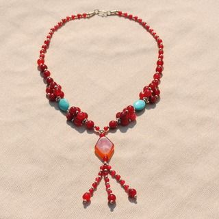 Handcrafted Tribal Red/ Amber Beaded Necklace (Afghanistan