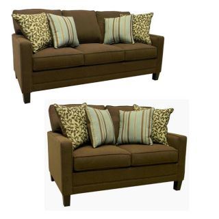 Summit Brown Fabric Sofa and Loveseat