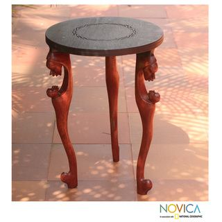 Sese Wood African Mother Accent Table (Ghana)