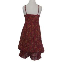 Womens Cotton Pink Floral Adjustable Strap Ruffle Dress (Nepal