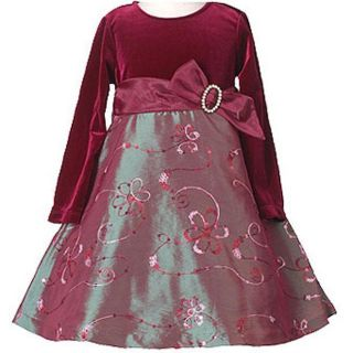Bonnie Jean Girls Burgundy Floral Dress