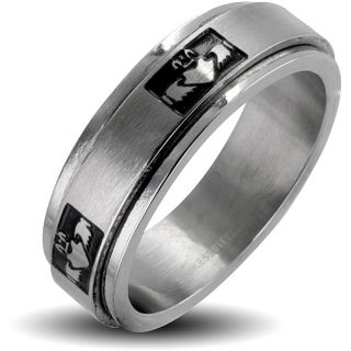 Stainless Steel Mens Claddagh Spinner Ring