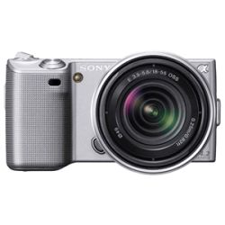 Sony alpha NEX 5 14.2MP Mirrorless Silver Digital SLR Camera with 18