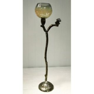 Rojo 16 Costa Brava Crackle Glass T light Holder   24.50 in.   Candle