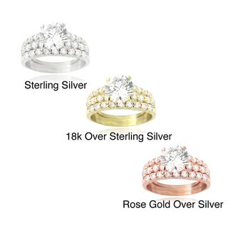 Icz Stonez Sterling Silver Round CZ Bridal inspired Ring Set