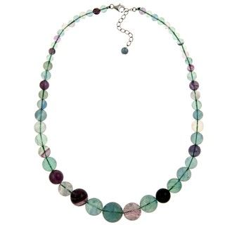 Pearlz Ocean Sterling Silver Flourite Journey Bead Necklace