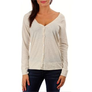 247 Frenzy 100 percent Cotton Long Sleeved Button Cardigan   Oatmeal