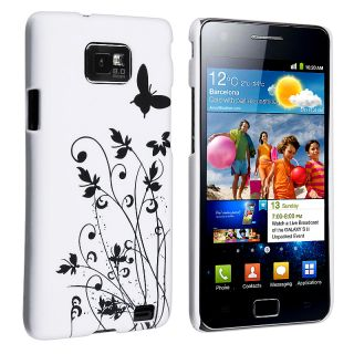 White Butterfly Flowers Rubber Case for Samsung Galaxy S II i9100