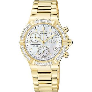 Riva Goldplated Steel Eco Drive Diamond Date Watch