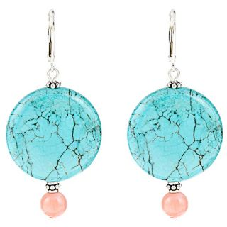 Donna Dressler Sterling Silver Created Turquoise and Coral Earrings
