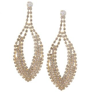 Morgan Ashleigh Gold Overlay Clear Crystal Oversized Teardrop Earrings