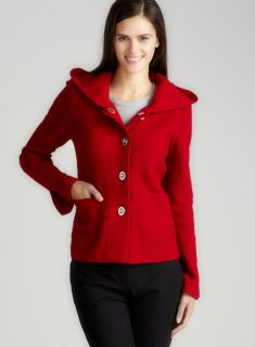 For Cynthia Hooded Button Front Jacket