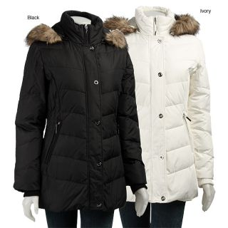 AK Anne Klein Womens Quilted Faux Fur Down Jacket