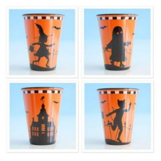 Glitterville Halloween Silhouettes Cups   Set of 4