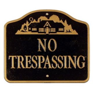 Whitehall No Trespassing with House Logo Wall/Lawn Plaque   Address