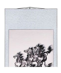Eight Horses Chinese Art Wall Scroll Painting