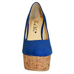 Toi et Moi Womens Gisele 03 Blue Suede Wooden Wedges