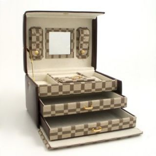 Leather & Brown Checkered Multi level Travel Jewelry Box   8W x 5H in
