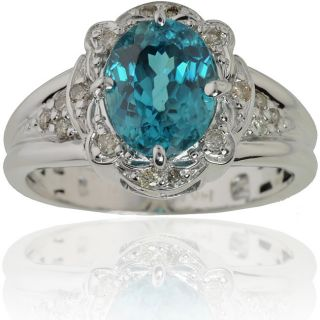 Michael Valitutti 14k Gold Blue Zircon/ 1/6ct TDW Diamond Ring