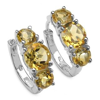 Malaika Sterling Silver Round cut Citrine Hoop Earrings