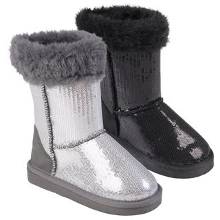 Journee Collection Kids Ugena star Faux Fur Accent Sequined Boots