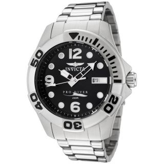 Invicta Mens Pro Diver Black Dial Stainless Steel Watch