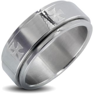 Stainless Steel Mens Iron Cross Spinner Ring
