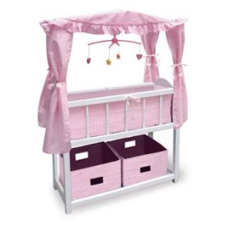 Badger Basket Pink Gingham Canopy Doll Crib with Baskets, Bedding, and