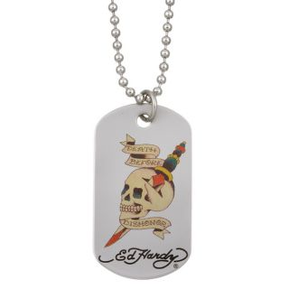 Ed Hardy Steel Death before Dishonor Dagger Dog Tag Necklace