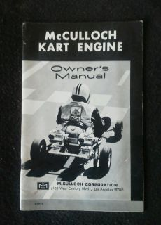 Vintage McCulloch Kart Engine Manual MC 91 MC 101