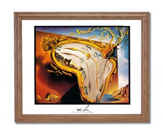 Dali Moment of Explosion Clock Wall Picture Oak Framed Art Print