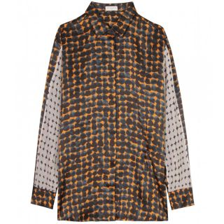 Dries Van Noten   SILK PATTERN BLOUSE WITH FOLD DETAIL