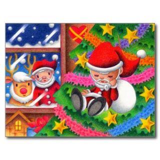 Weihnachtsbilder   Schlafenvater Weihnachtspuppe Postkarte