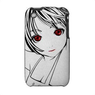 Junges Anime Mädchen mit roten Augen iPhone 3 Taschen